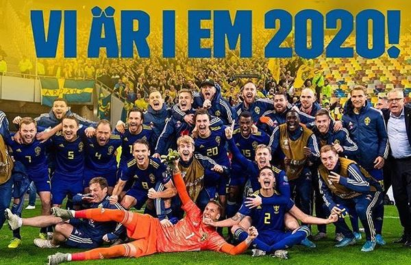 Congratulations Sweden. Amazing performance from the Swedish National team tonight. Euro 2020 here we come. 🇸🇪🇸🇪🇸🇪🇸🇪#wearesweden
